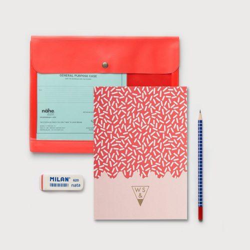 Gift Box SET PORTA DOCUMENTI ROSSO + TACCUINO SUPER SPRINKLES COMBOREDCASE-SPRINKLES