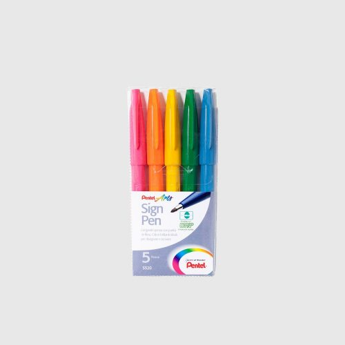 PENTEL SIGN PEN SET - 5 COLORI VIVACI