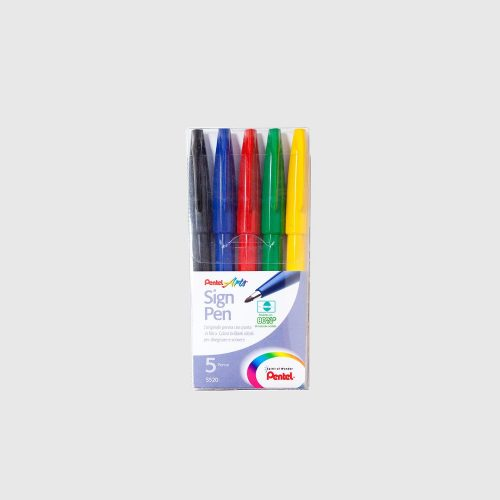 PENTEL SIGN PEN SET - 5 COLORI BASE