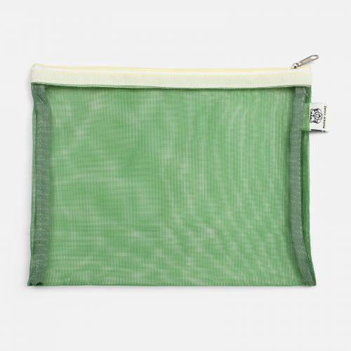 Pochette M in tessuto a rete Green
