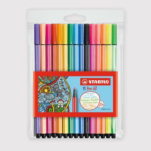 Pennarelli Stabilo Pen 68 - Astuccio da 15 Colori Assortiti