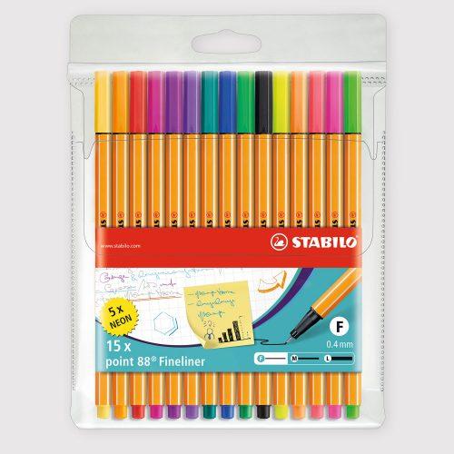 Penne Stabilo Point 88 - Astuccio da 15 Colori Assortiti