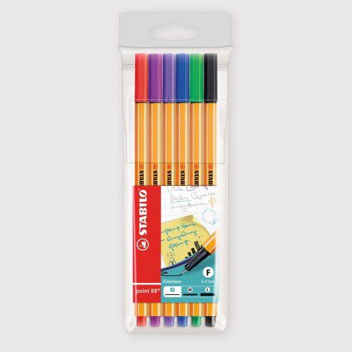 Penne Stabilo Point 88 - Astuccio da 6 Colori Assortiti