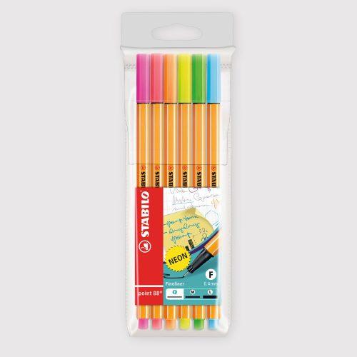 Penne Stabilo Point 88 - Astuccio da 6 Colori Neon