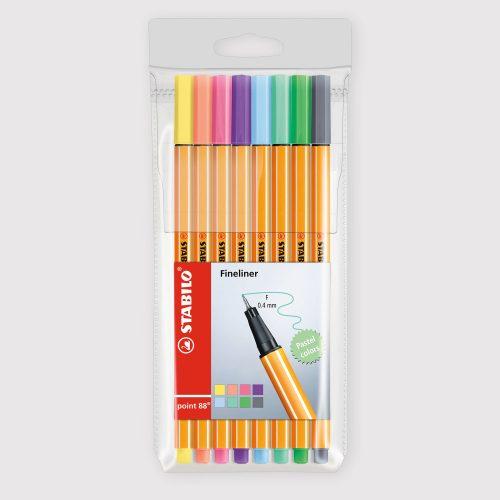 Penne Stabilo Point 88 - Astuccio da 8 Colori Pastello
